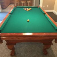 AMF 8' Slate Pool Table And Accessories